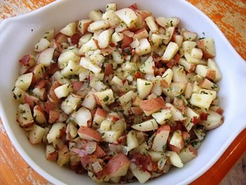 Amish potato salad in a white bowl