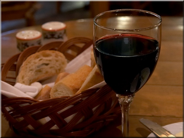 Glasses of French wine with bread