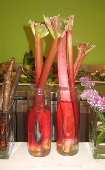 2 jars of rhubarb stalks