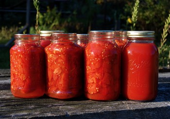 7 jars of canned tomatoes on a wooden table