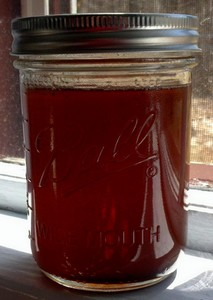A jar of maple syrup.
