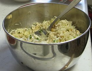Amish coleslaw in a stainless steel bowl