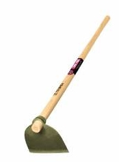 A steel and wooden handled garden hoe