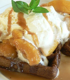 gingerbread waffles with apples and cream
