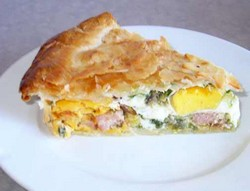 Ham and egg pie.
