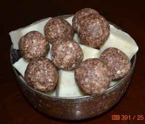 homemade soap balls and olive oil soap in a copper bowl