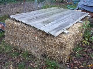 a homemade straw bale cold frame