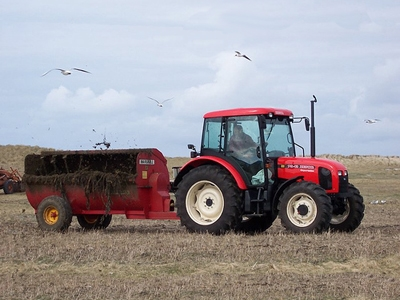 Manure being spread by a spreader and tractor.