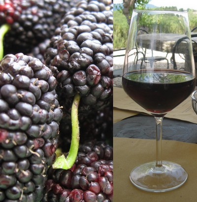 Mulberries and a glass of mulberry wine.
