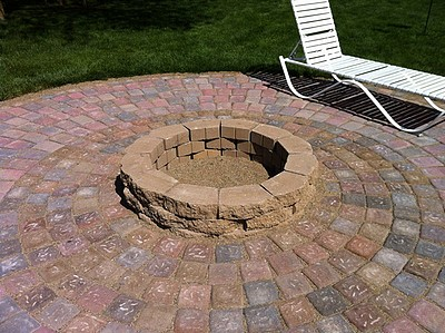 The finished fire pit and patio.