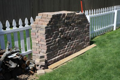 A stack of brick pavers for the patio.