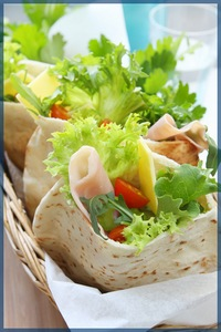 Pita Pockets filled with salad and ham