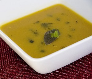 Pumpkin and dill seed soup.