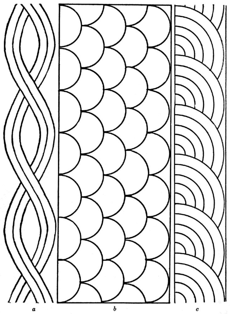 Free rope, shell, fan quilting pattern