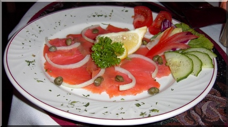 simple smoked salmon starter on a plate
