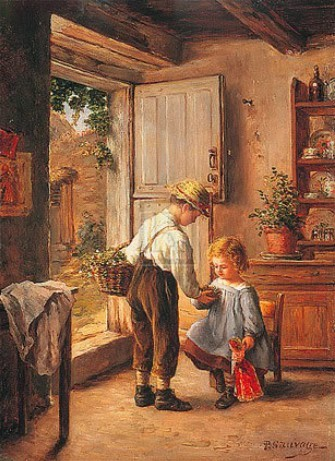 2 children in a traditional country kitchen.
