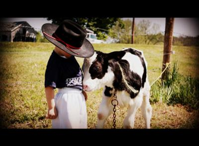 My son loves our farm.