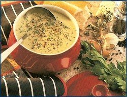 a bowl of cauliflower and blue cheese soup