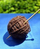 A ball of yarn and knitting needles.