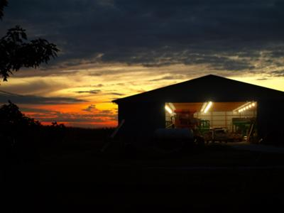 John was working in the shed one night last week when I caught this sunset......