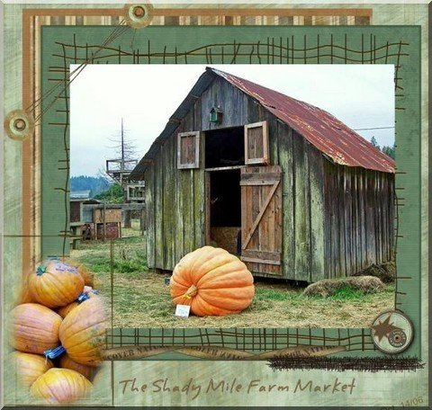 scrapbooking ideas showing a photo of an old barn with some pumpkins
